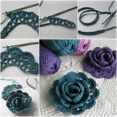 """Easy to make Crochet lace rose with Free pattern . .."