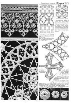 irish crochet motifs View album on Irish Crochet Patterns, Crochet Lace Edging, Crochet Borders, Filet Crochet, Freeform Crochet, Crochet Diagram, Thread Crochet, Crochet Designs, Crochet Flowers