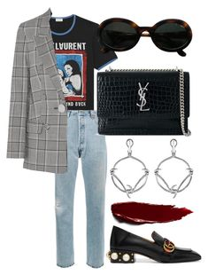"""#675"" by mora-143 ❤ liked on Polyvore featuring Yves Saint Laurent, RE/DONE, Alexander Wang, Valentino, Gucci and Stephen Webster"