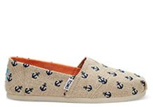 TOMS Exclusive Natural Burlap with Embroidered Anchors Women's Classics