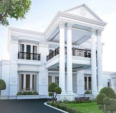 Contemporary home design kamar atas sederhana House Outside Design, House Front Design, Small House Design, Modern House Design, Home Design, Classic House Exterior, Classic House Design, Bungalow House Design, Dream House Exterior