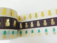 Gold Foil Pineapple Washi Tape in 3 Colors by GoatGirlMH on Etsy