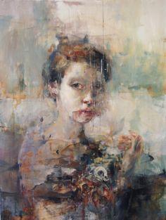 """Votive of the Asphodel"" by artist Jaclyn Alderete - Oil on panel, 18""x 24"" - SOLD"