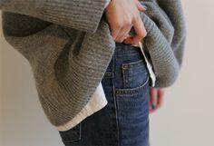 Casual Uniform | Oversized Knit and Dark Denim | via A Feminine Tomboy