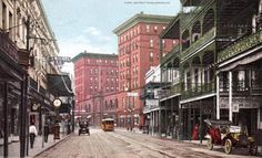 1910s view of St Charles from Canal St. Postcard. Fabacher's and Kolb's restaurants on the right.