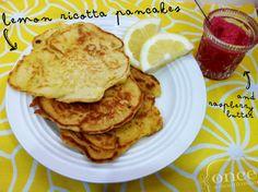 Lemon Ricotta Pancakes with Raspberry Butter - Make a BIG batch to keep in the freezer.  #freezercooking #pancakes #vegetarian