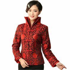 High Quality Burgundy Chinese Women Formal Clothing Satin Flower Coat Lady Elegant Mandarin Collar Jacket Tang Suit Top YZ51 #Affiliate