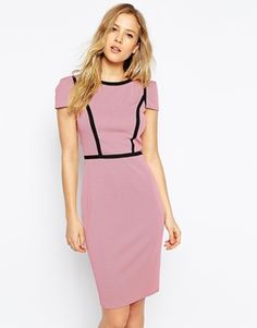 Paper Dolls Textured Pencil Dress With Panelling