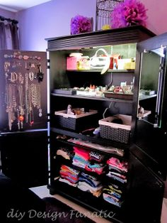 diy Design Fanatic: DIY Storage ~ How To Store Your Stuff  An armoire used as closet organizer