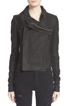 Rick Owens 'Classic' Lambskin Leather Jacket