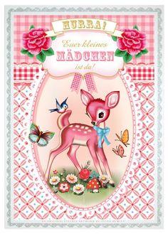 ~Wu and Wu postcards-Fiona Hewitt voor Cotton Candy chronicles via Birdyblues~ Photo Vintage, Vintage Images, Vintage Posters, Bambi, Kitsch, Deer Art, Graffiti, Vintage Drawing, Vintage Nursery
