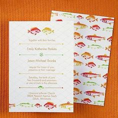 Perfect Catch in Mango Wedding Invitation