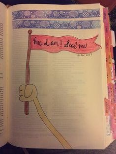 Here I am send me! Isaiah bible journaling, Illustrated Faith, bible, colored pencils, cloud washi tape