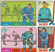 Topps had issues with Ab McDonald and what team he might have been on. More on Ab McDonald's NHL career and his hockey cards here: http://www.vintagehockeycardsreport.com/ab-mcdonald/