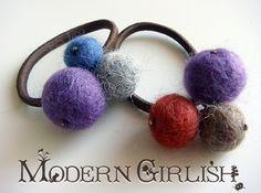 hair tie with felt balls