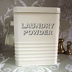 Laundry powder tin | with scoop | cream enamel | by Home Sweet Home | decorative | storage |solution Farmhouse Laundry Room, Farmhouse Decor, Laundry Powder, Decorative Storage, Storage Solutions, Tin, Retro Vintage, Sweet Home, Enamel