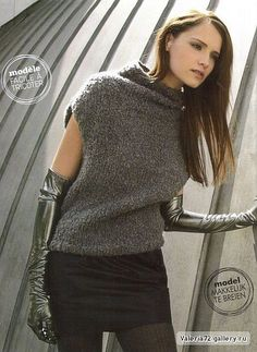 Warm Outfits, Stylish Outfits, Knit Fashion, Fashion Looks, Knit Vest Pattern, Vintage Crochet Patterns, Big Knits, Knitted Poncho, Diy Clothing