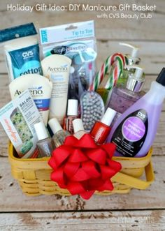 Gift basket idea for men or women fantabulosity relaxation holiday gift idea how to make a diy manicure gift basket gifts for girls solutioingenieria Image collections