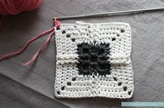 "This ""Ribbed Cross"" Granny Square uses Front and Back Post Treble Crochet stitches to achieve a wonderful texture. Free pattern & photo tutorial!"
