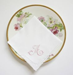 Irish Shamrock Corner Cotton Handkerchief, Monogrammed Embroidered Wedding Handkerchief