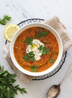 A bright and flavoursome soup that is deeply nourishing, simple to make and absolutely perfect for the changing season. I like to soak the lentils beforehand as this makes them much easier to digest.