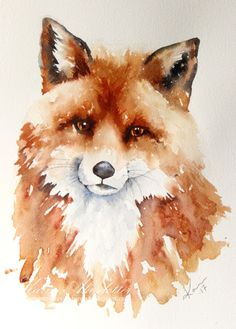 watercolor animals Peppermint Pattys Papercraft: Sunday Watercolors: Fox and Frog Watercolor Paintings Of Animals, Fox Painting, Watercolor Paintings For Beginners, Watercolor Images, Beginner Painting, Watercolor Artwork, Watercolor Animals, Animal Paintings, Painting & Drawing