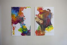 DIY melted crayon art on canvas. Love that she left white space on the canvas. Making Crayons, Diy Crayons, Crayon Painting, Crayon Art, Crayon Ideas, Art Diy, Diy Wall Art, Pintura Crayon, Melted Crayon Canvas
