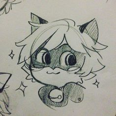 "kitkatkatee: ""Smol chat #chatnoir #miraculousladybug #mlchatnoir #sketches "" Follow my Instagram for more sketches & doodles!"