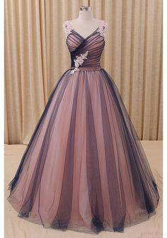 Simple V-neck Long Tulle Prom Ball Gown with Applique - Simi Bridal