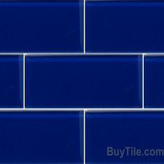 Glass Subway Tile, Potere, Trend Cobalt Glass Subway 3 x 6, Buytile.com