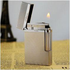 Bật lửa S.T.Dupont trắng bạc sọc kẻ ngang - Mã SP: BLD 040