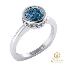 Inel de logodna din aur cu diamant albastru si diamante ES69
