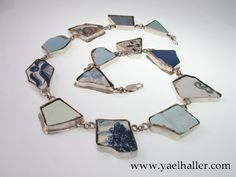 Dutch design jewelry. One of a kind necklace, silver and Delft's blue pottery shards.  @design jewelry