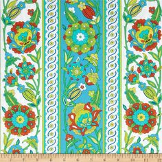 Iznik Kasimir Persimmon from @fabricdotcom  Designed by Snow Leopard Designs for Free Spirit, this cotton print is perfect for quilting, apparel and home decor accents. Colors include green, lime green, teal blue, blood orange, and white.