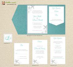 DIY Custom Wedding Invitation Suite Beach Sea by sheilamaridesign