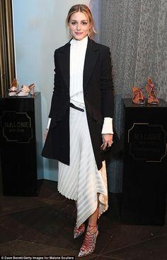 Fashion week regular: Olivia attended the Malone Souliers London Fashion Week AW17 Presentation on Sunday