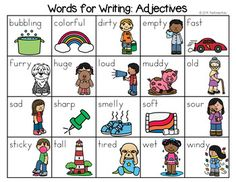 Adjectives Word List - Writing Center by The Kinder Kids | TpT
