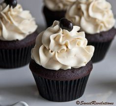 Mocha Cupcakes with Bailey's Frosting Try subbing milk for the coffee and leaving out the espresso powder to get a dark chocolate cake.