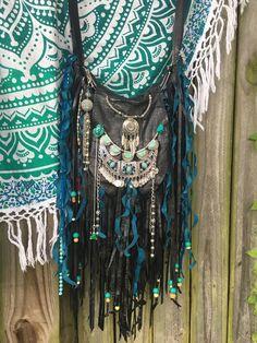Handmade Black Leather Fringe Bag Hippie Western Boho Festival OOAK Purse B.Joy   eBay