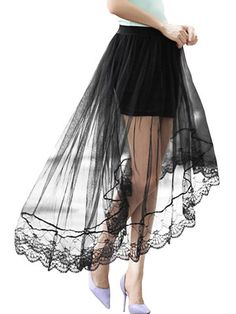 Sexy Women Mesh Sheer Solid Fake Two-piece High Low Maxi Skirt