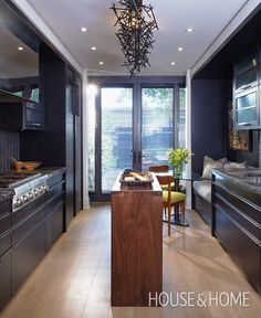 Great inspiration for those who don't have a lot of room in their floor plan for an expansive kitchen.  Great use of available space in this galley kitchen.