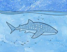 Whale Shark ocean art print underwater 11x14 by studiotuesday