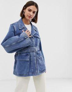 b507a1075ad Selected Femme - Veste en jean manches bouffantes avec lien à la taille