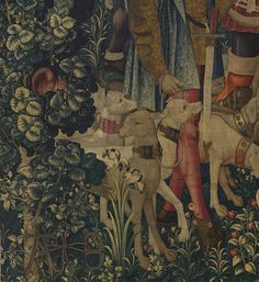 Detail of hazel tree in The Unicorn is Killed and Brought to the Castle (from the Unicorn Tapestries), 1495–1505. The Metropolitan Museum of...