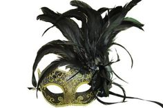 Black Venetian Styled Mask with Feather