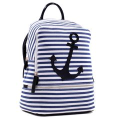 Dasein Anchor Canvas Striped Backpack with Adjustable Shoulder Straps by Dasein