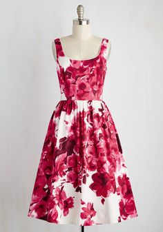 Wonder for the Record Books Dress in Magenta - White, Pink, Floral, Print, Pockets, Daytime Party, Fit & Flare, Sleeveless, Woven, Best, Long, Valentine's