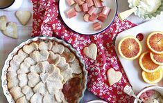 Rhubarb, blood-orange and ginger heart pie