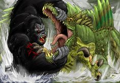 King Kong Drawings | King Kong vs. Spinosuchosaurus by KaijuSamurai
