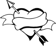 Heart and Arrow, a Classic Symbol on Valentine's Day Coloring Page Farm Animal Coloring Pages, Heart Coloring Pages, Free Coloring Sheets, Online Coloring Pages, Free Printable Coloring Pages, Coloring Pages For Kids, Valentines Day Coloring Page, Heart With Arrow, Valentines Day Hearts